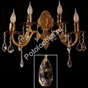 бра Brizzi Испания 8888/2+2 АВ Tear drop crystal :: www.potolochka.ru